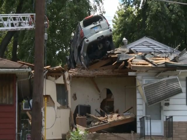 A car was going so fast it took off when the driver lost control and flew into a Missouri house