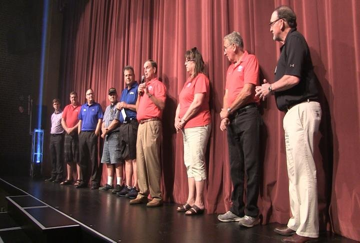 Veterans were honored, including a check presentaton to the Great River Honor Flight, as part of the Hughes Brothers show in Carthage on Thursday night.