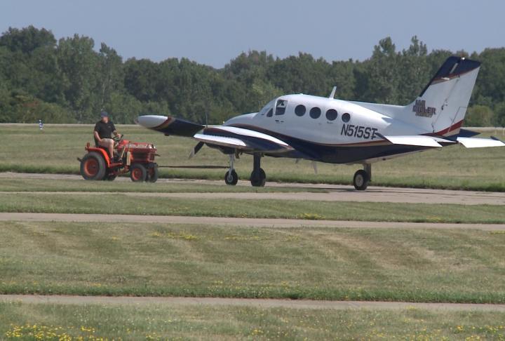An airplane being moved at Keokuk Municipal Airport