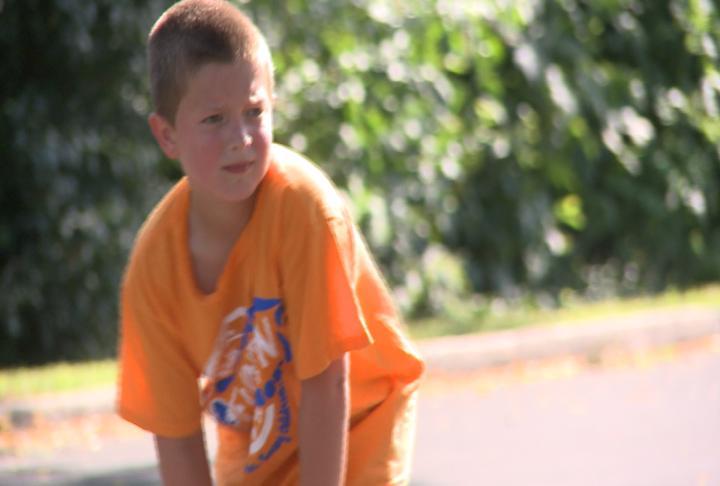 Kid getting ready to run