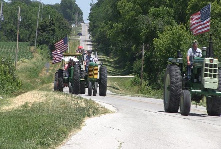A screen grab of the tractor drive back in June.
