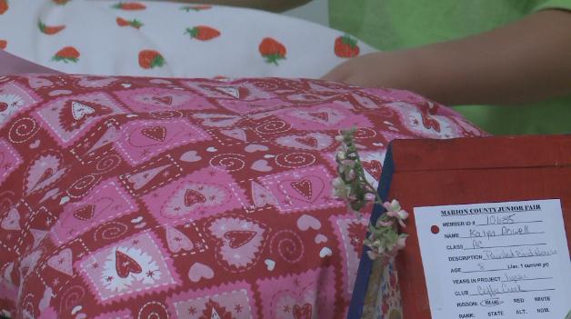 A 4-H'er presents her crafts.