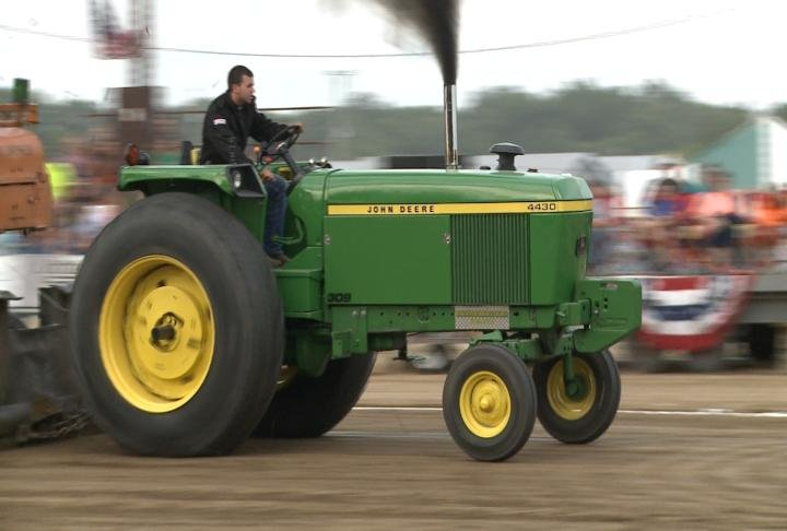 The tractor pull took place on Monday night.