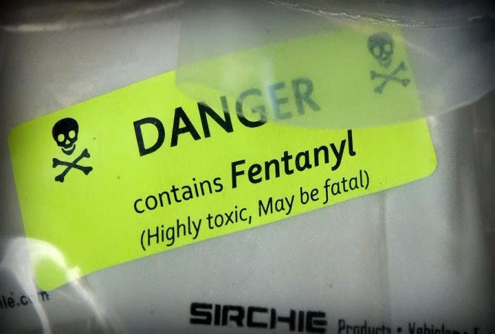 Warning label on package containing fentanyl