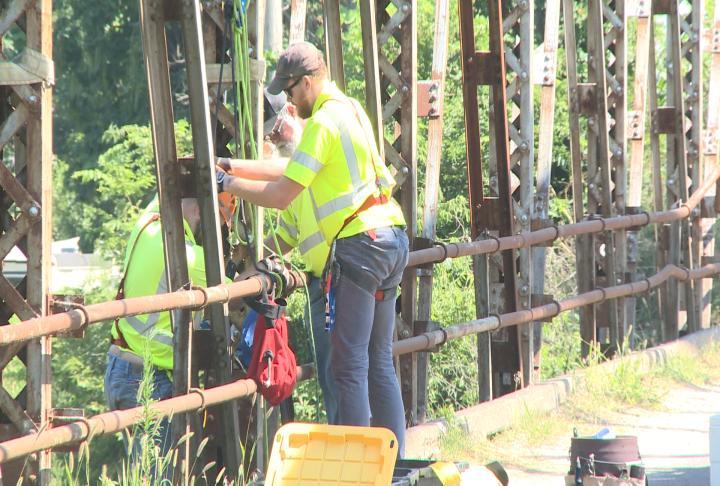 Crews working on bridge