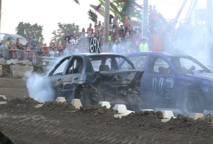 The demolition derby took place at the fairgrounds on Tuesday night.