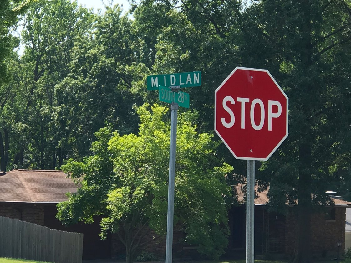New stop sign at the intersection of South 28th and Midlan in Quincy