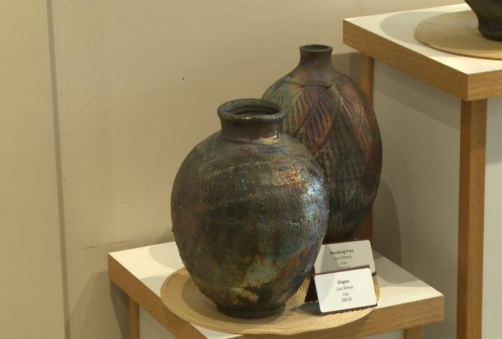 Pottery on display at Hannibal Arts Council.