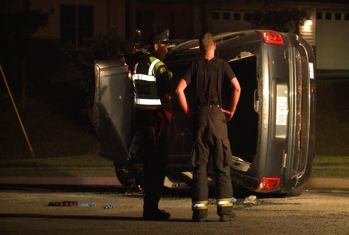A van on its side after a crash at 24th and Harrison Street in Quincy.