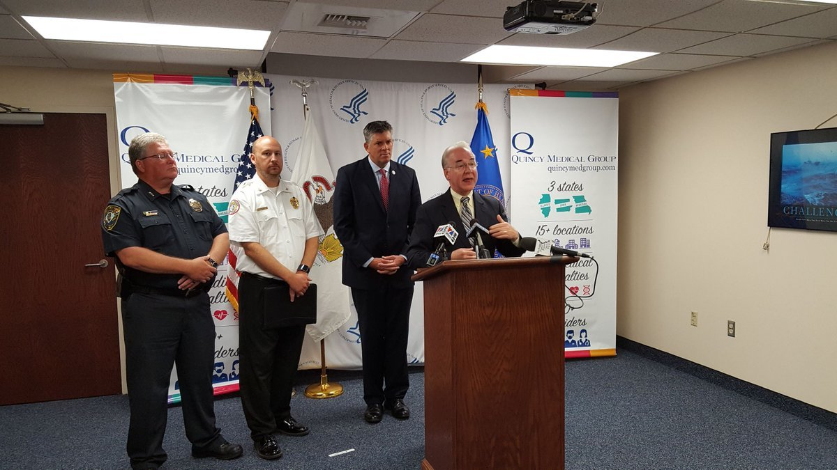 Tom Price addressing the media at Quincy Medical Group