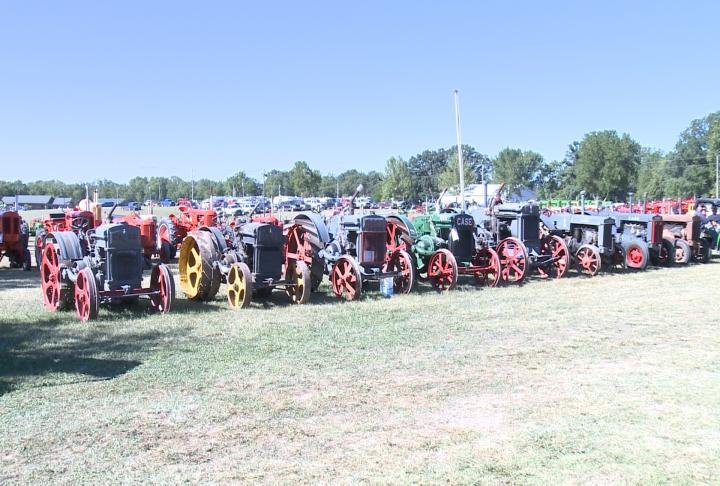 Equipment lined up at the event on Friday.