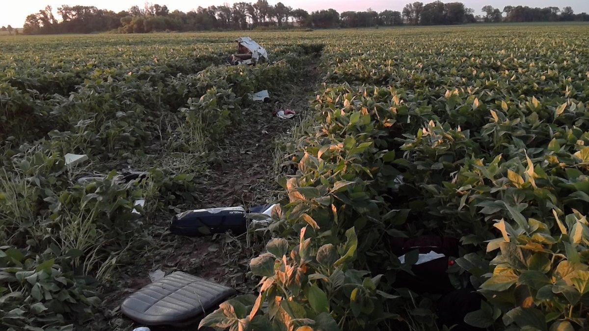 Plane wreckage across the soybean field. (Photo courtesy of MSHP)