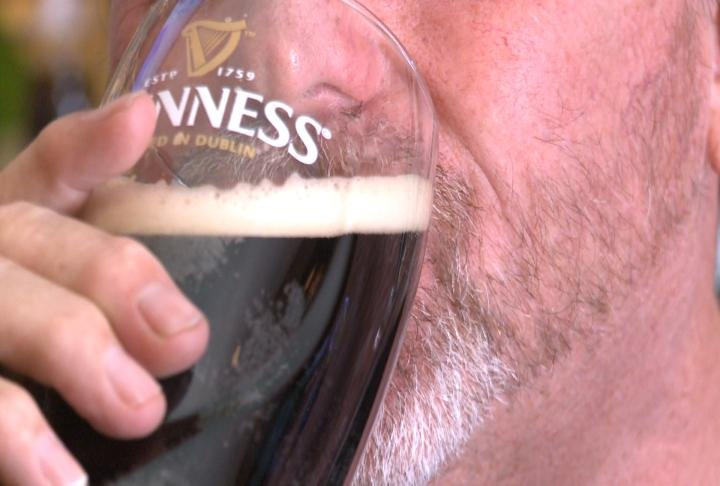 Customer drinking beer