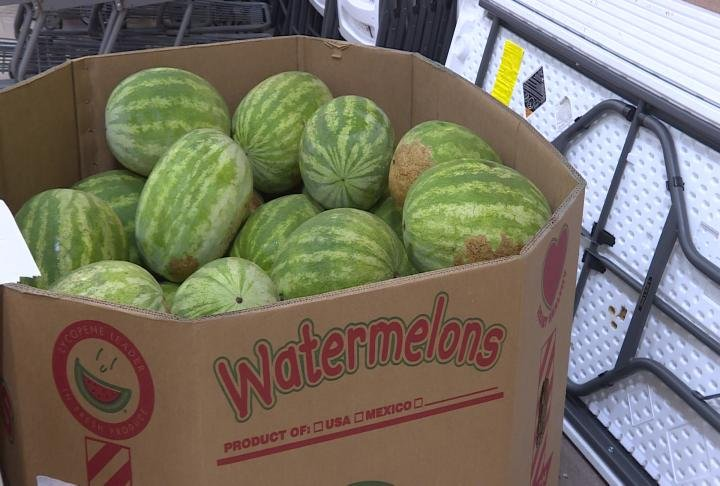 Watermelons were given out