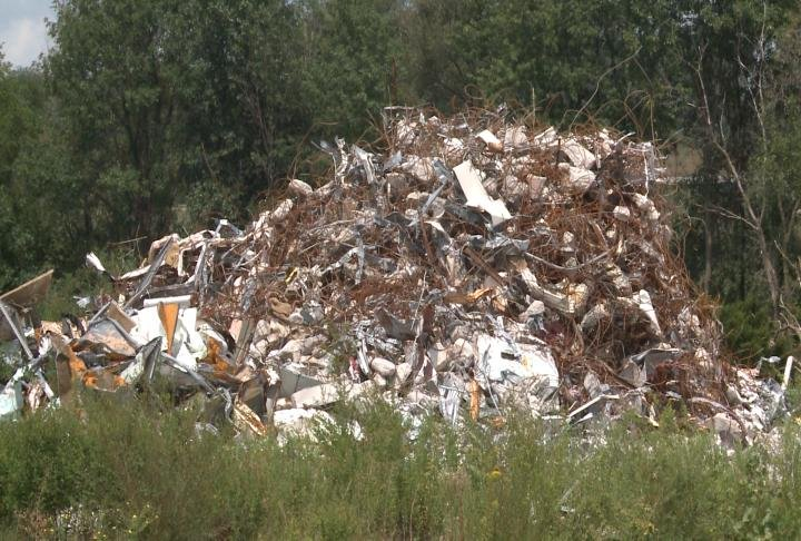 Layers of debris left in the hotel parking lot.