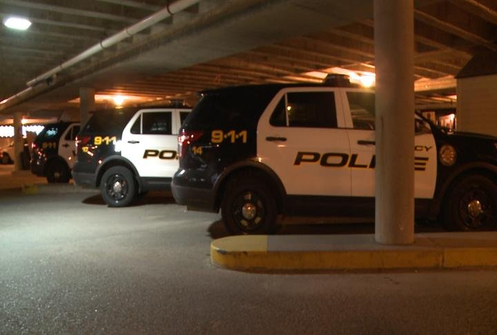 Quincy Police vehicles parked.