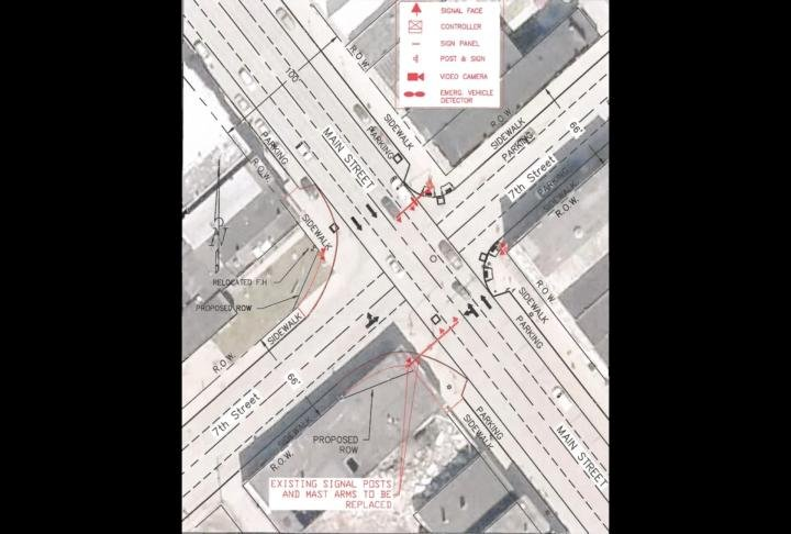 Image of work needed to be done to make 7th and Main safer.