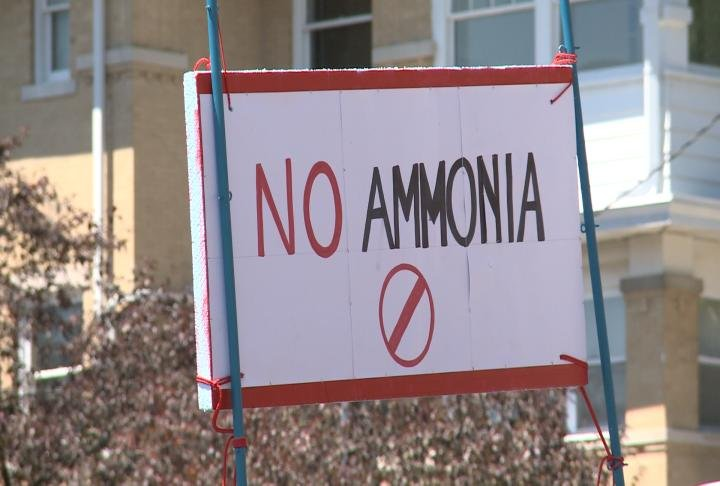 Sign displayed on back of truck reads no ammonia.