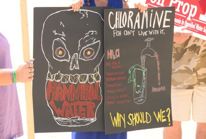 Sign held by protester giving details about chloramines.