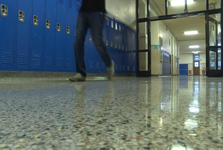 Someone walking the halls of Quincy Junior High School
