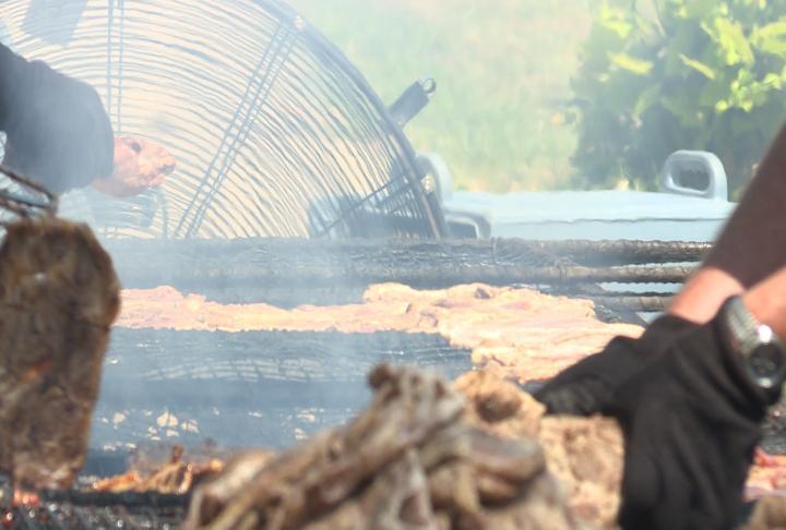 Members cooking pork steak