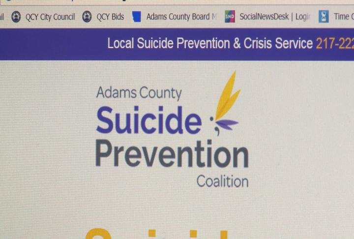 Front page of website displays logo for the Adams County Suicide Prevention Coalition.