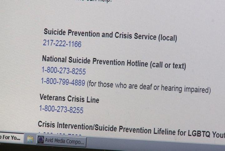 Several crisis hotline numbers displayed on newly launched website.