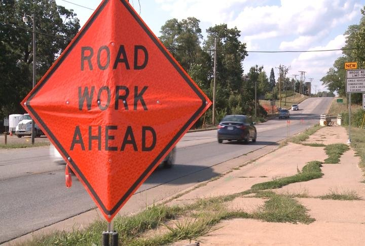 Road work sign put up ahead of a bridge replacement project at 24th Street in Quincy.