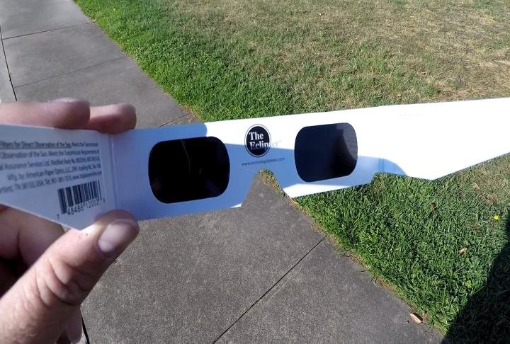 The eclipse glasses available at QMG.