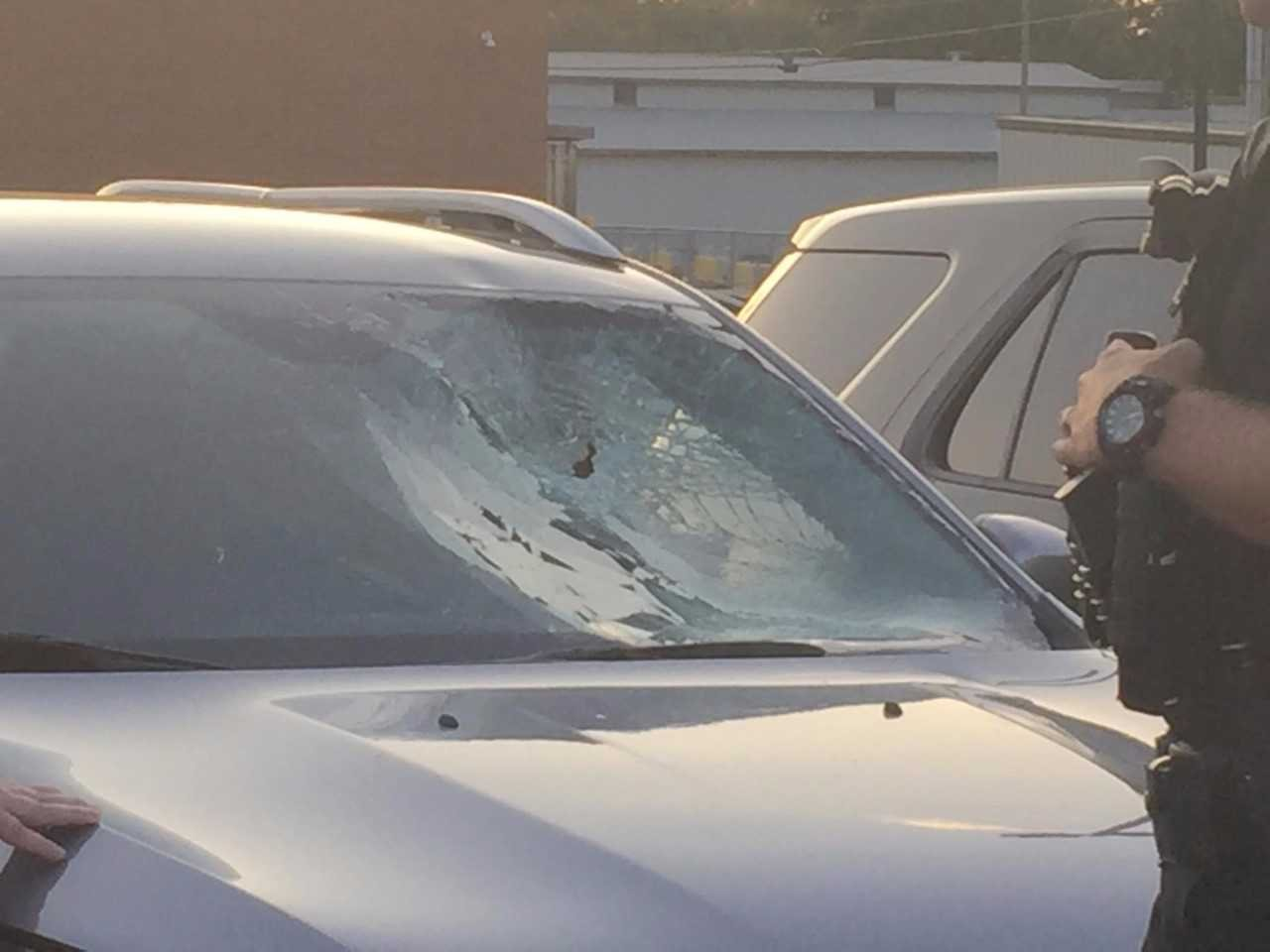 The windshield of the SUV was seriously damaged.