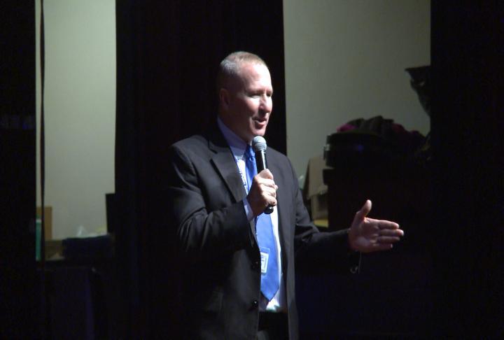 Superintendent Roy Webb speaking to staff