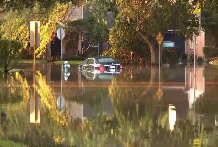 Flooded car because of Hurricane Harvey
