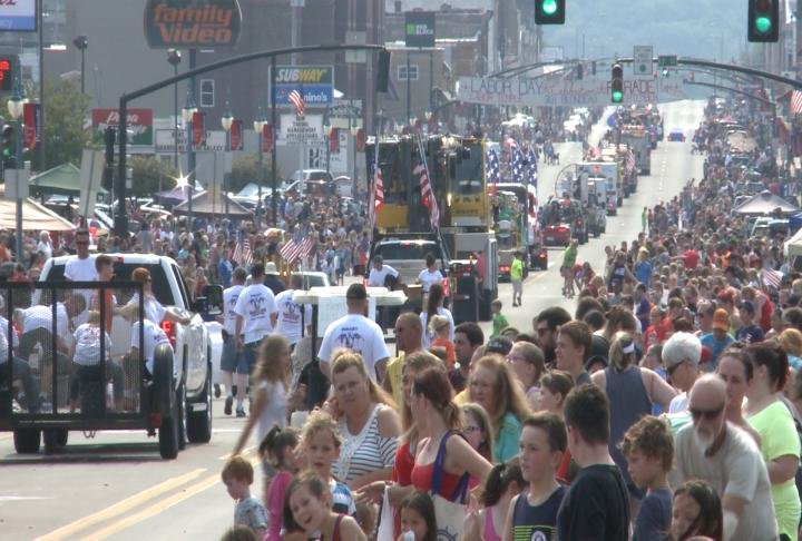 Main Street packed with thousands of people.