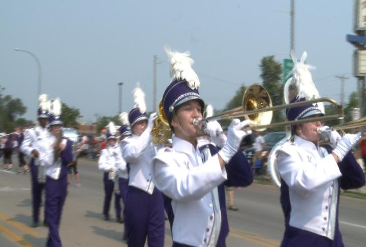 Keokuk High School band playing in the parade.