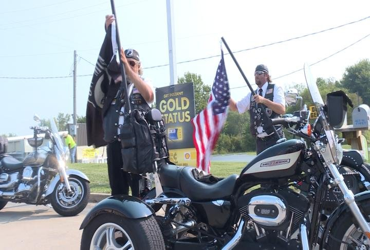 American Legion riders lead the ride with flags