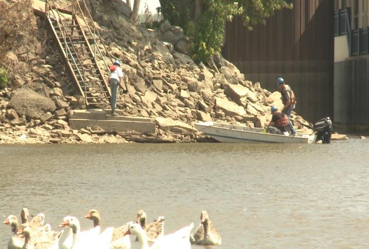 Crews working on the river.