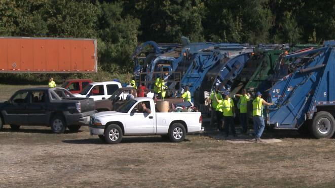 Crews loading up items during a previous city-wide cleanup in Quincy.