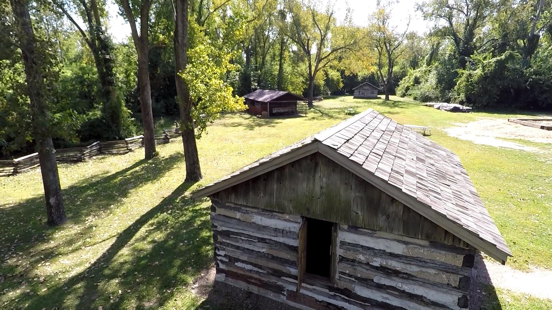 The WGEM News drone offers a view of the log cabin village on Quinsippi Island in Quincy.