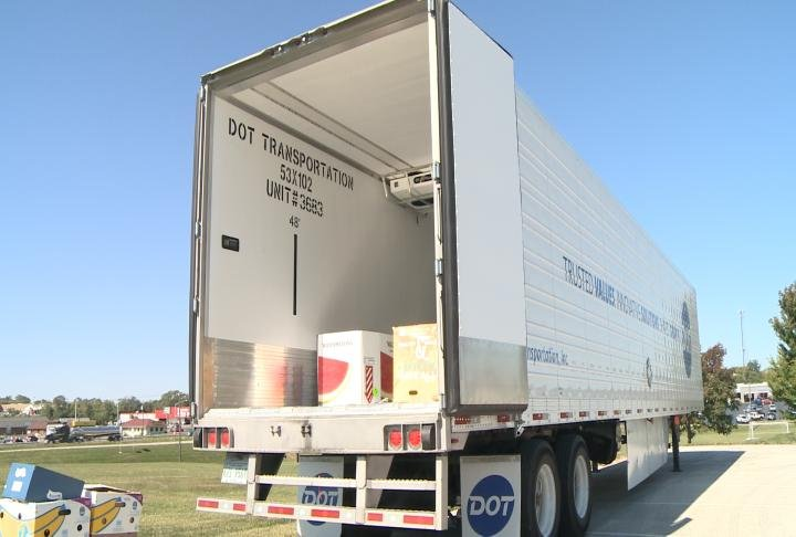 Truck set up at HLGU for donations.