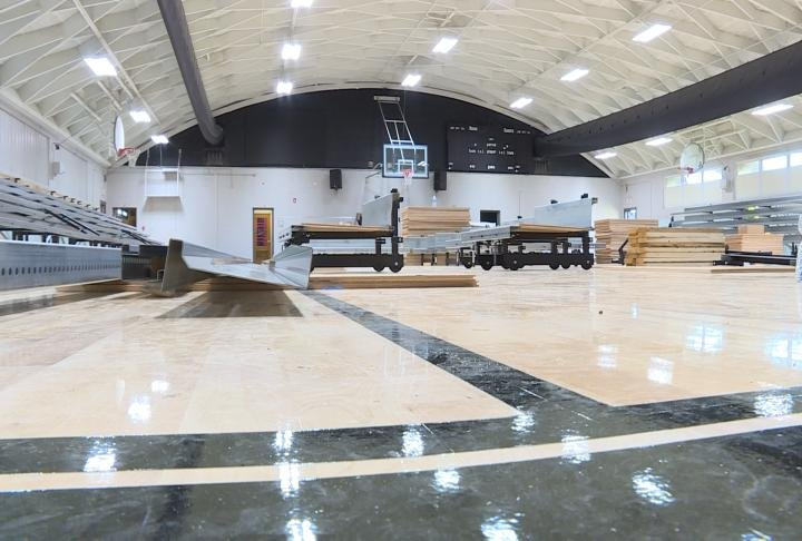 The new gym as bleachers are being installed