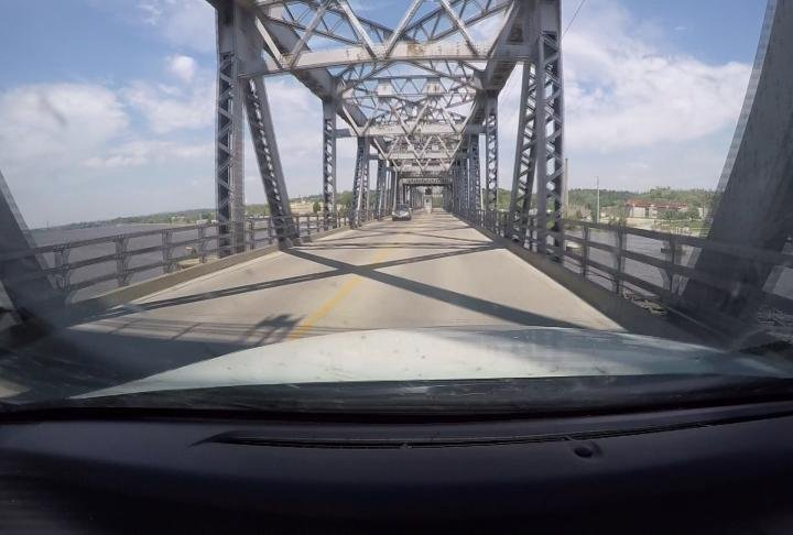 View from the car going over the bridge.