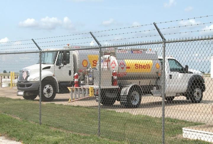 Tanker trucks parked at the Quincy Regional Airport.