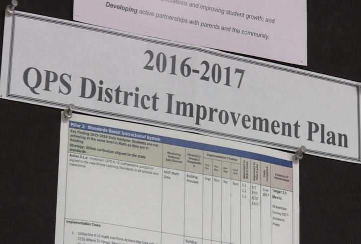 Bulletin board displays QPS District Improvement Plans.