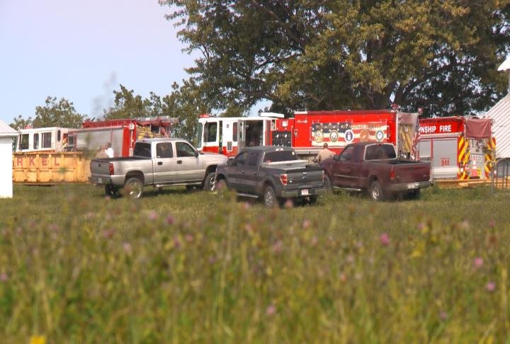 Emergency crews at the scene of the fire.
