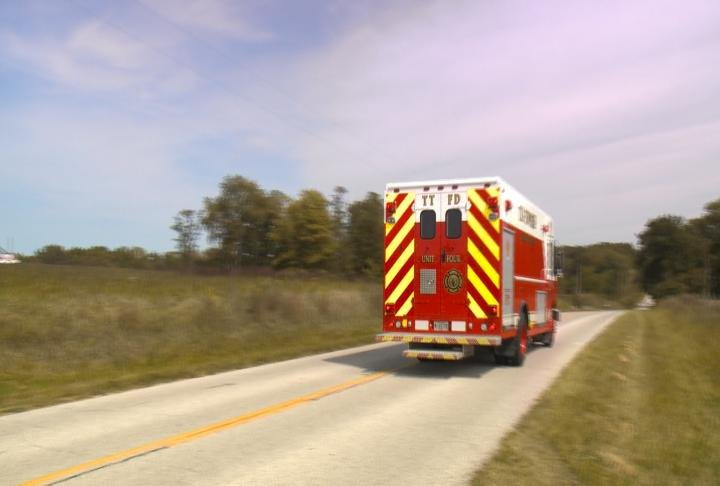 Emergency vehicle leaving the home Tuesday afternoon.