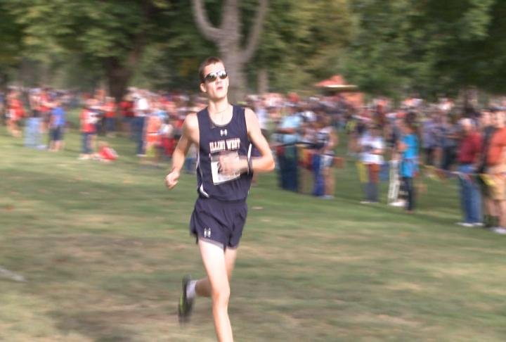Illini West's Jacob Bryan raced past the field to win the Running Raider Invitational.