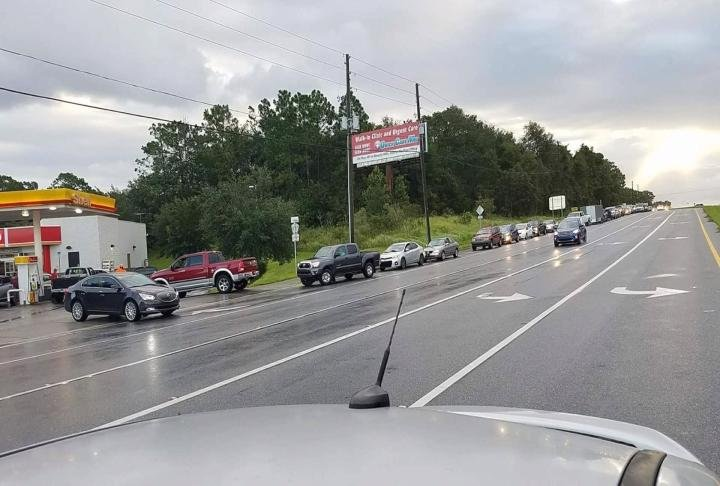 Line at the gas stations backed up for miles.