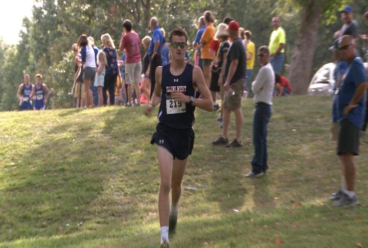 Illini West senior Jacob Bryan returned to Quincy's South Park Tuesday and raced past the Running Raider Invite competition.