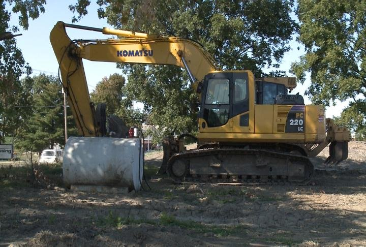 Construction equipment parked at proposed project on south 48th Street.