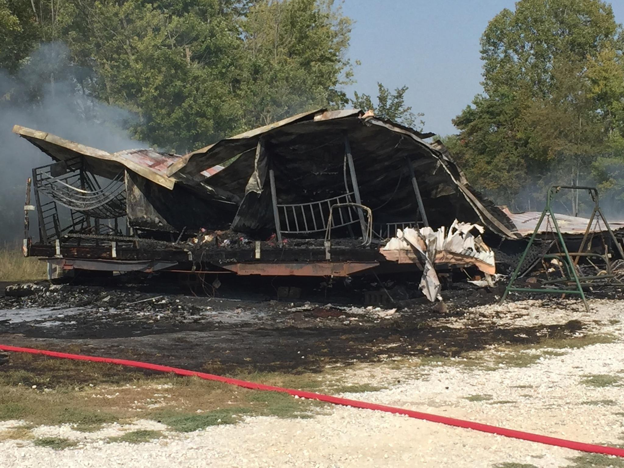 Home destroyed by fire.
